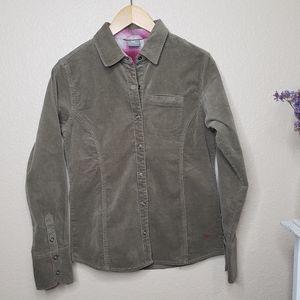 White Sierra Longsleeve Corduroy Button Up Shirt